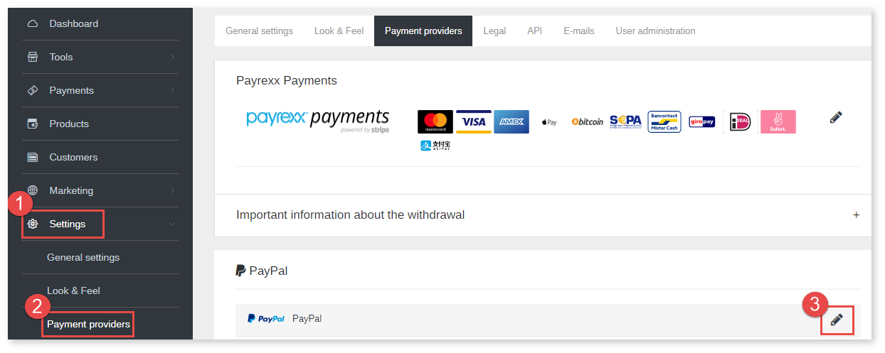 PayPal Sandbox - Integration into Payrexx : Customer Support
