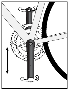 Bicycle cranks in vertical position