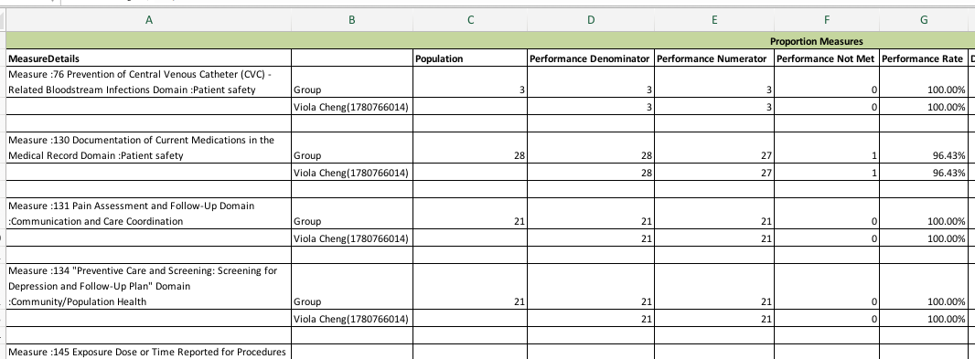 MIPS Portal - Sample Downloaded Performance Report