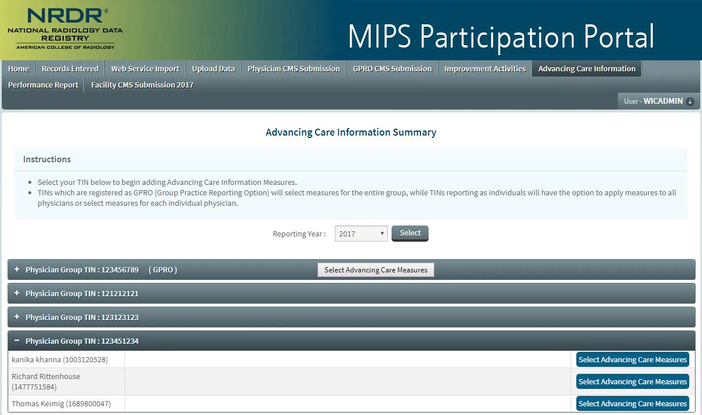 MIPS Portal - ACI Summary Page