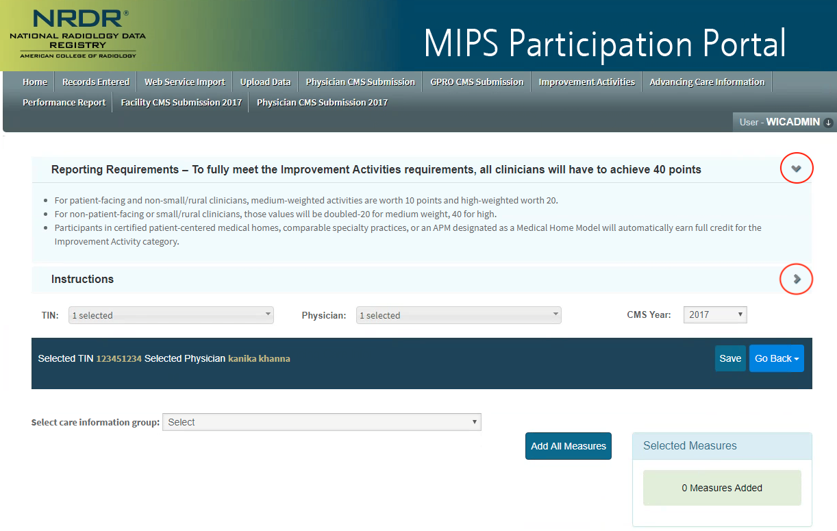 MIPS Portal - ACI Select Measures Page