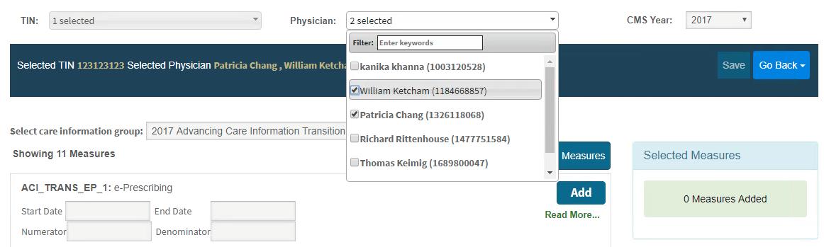 MIPS Portal - ACI Physician Pick List
