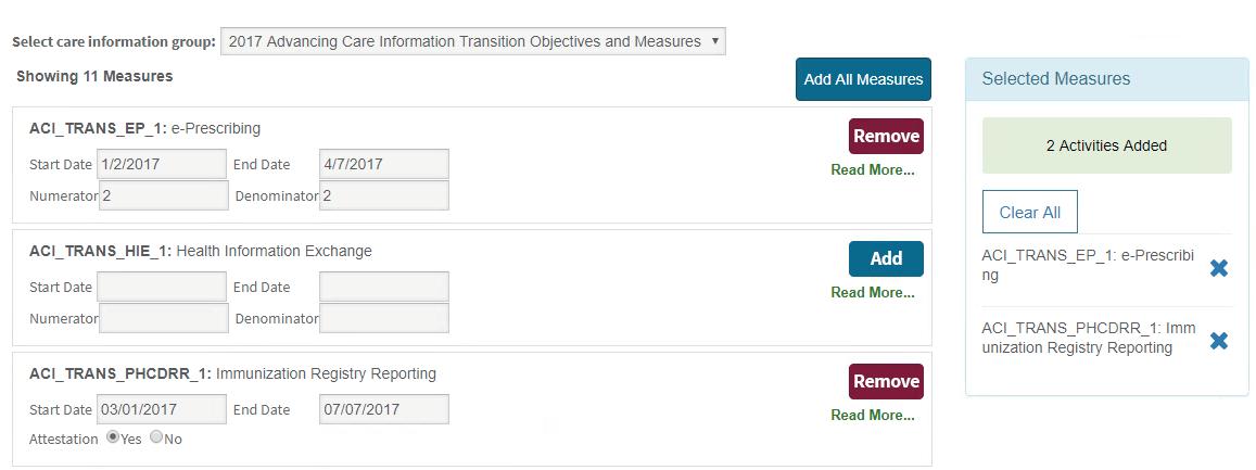 MIPS Portal - ACI Selected Measures Box
