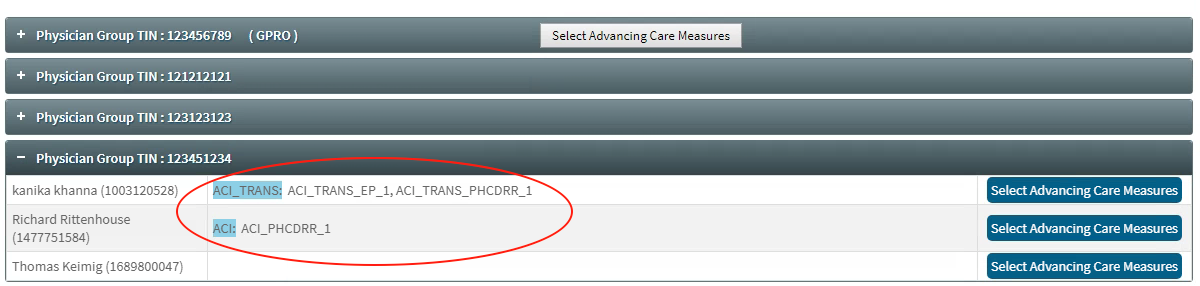 MIPS Portal - ACI Summary Page - Measures Selected