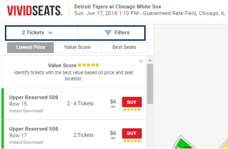 Can I search by quantity, price, or seat location? : Vivid