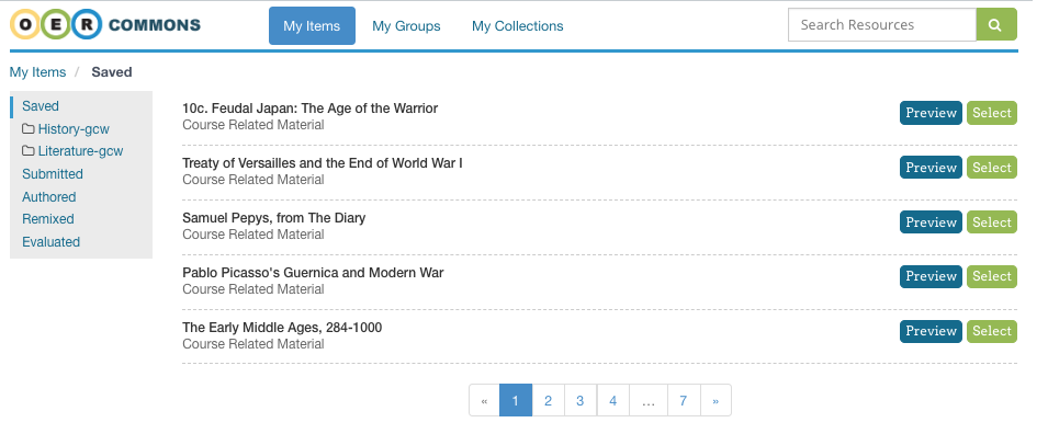 Screenshot of OER Commons Selection Tool.