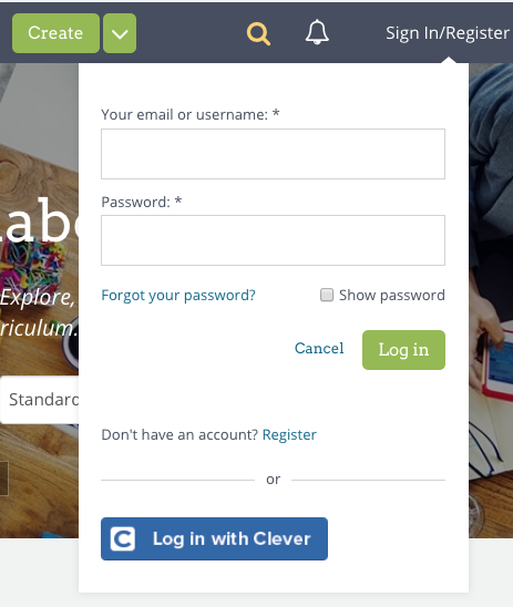Screenshot of OER Commons Login Dialog with Link for Forgotten Passwords