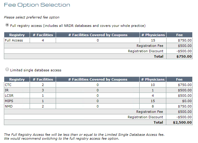 Application - Fee Option Selection