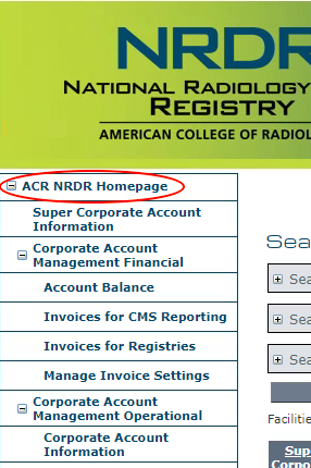 Menu - ACR NRDR Homepage