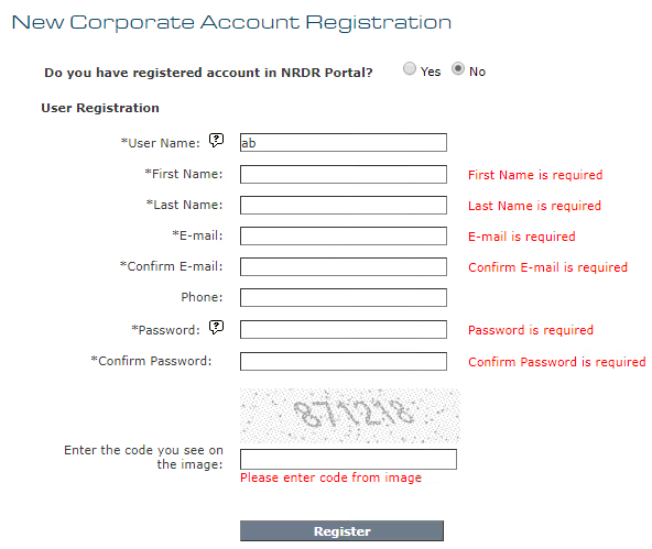 Corporate Account Registration Errors