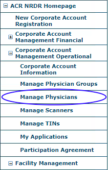 NRDR Manage Physicians