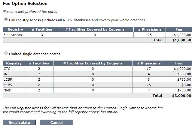 Manage Invoice Settings - Fee Option Selection