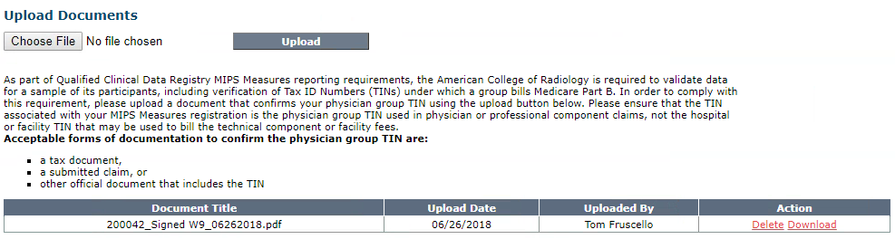 NRDR Manage Physician Group TIN - Documentation