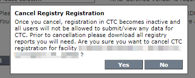 Facility Information - Cancel Registry Registration Prompt