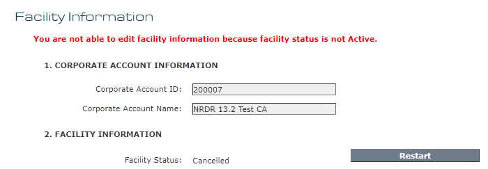 Facility Information - Restart Button
