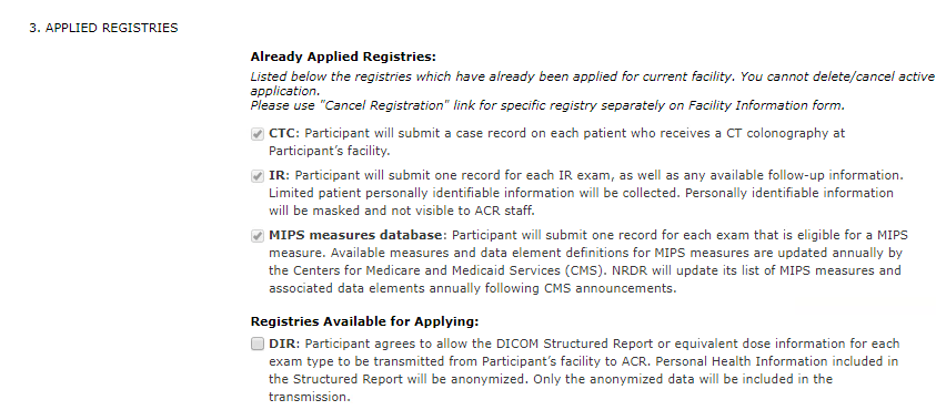 Facility Information - Already Applied Registries