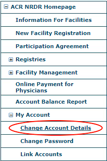 My Account Menu - Change Account Details