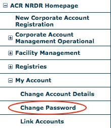 My Account Menu - Change Password