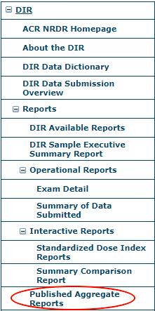 DIR Reports Menu - Aggregate Reports