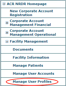 NRDR Manage User Profiles Menu Item