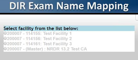 DIR Exam Name Mapping Facilities List - CAA