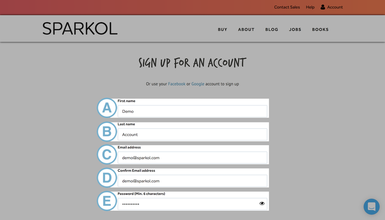 How to create a Sparkol account : Account