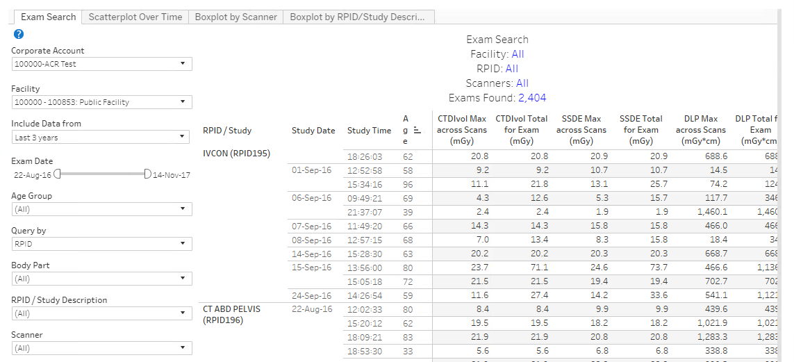 DIR Interactive Exam Search - Sample Data
