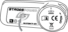 Arrow points to LED located at the center of the power meter housing
