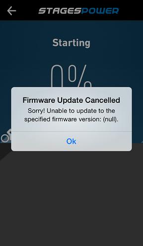 Error message displayed on StagePower app