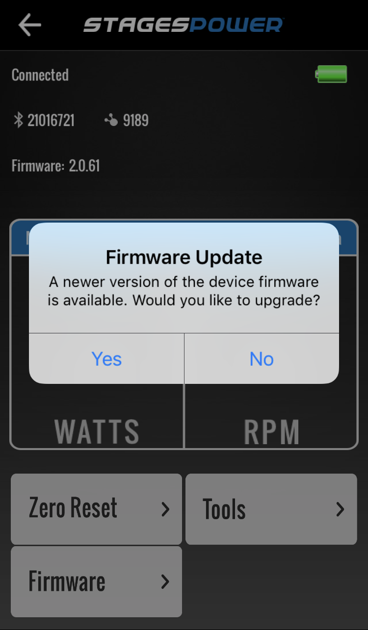 Firmware update available dialogue box