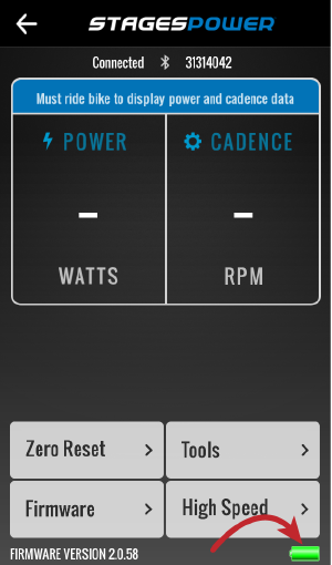 Arrow pointing to lower right corner of stages power app