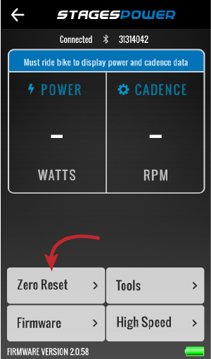 Stages power app zero reset button, lower left side above firmware button