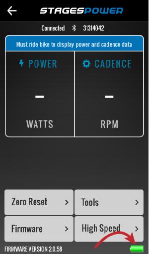 Green (full) battery icon in lower right corner of app.