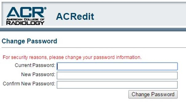 ACRedit Password Change Screen