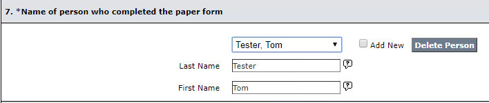 LCSR Exam Form - Person Who Completed Paper Form