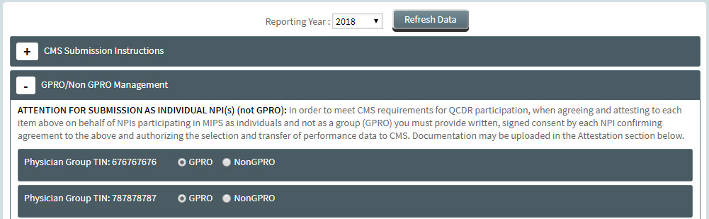 MIPS Portal - CMS Submission - GPRO Selection