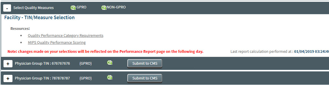 MIPS Portal - CMS Submission - Select Quality Measures Section