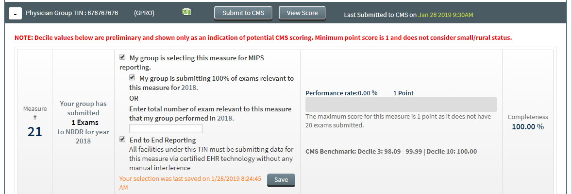 MIPS Portal - CMS Submission - Quality Measure Row