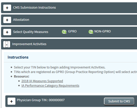 MIPS Portal - CMS Submission - Improvement Activities