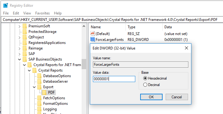Registry example for Crystal Font Size when Exporting to PDF