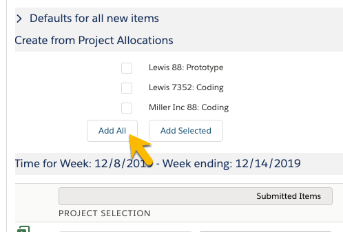 Project Line Allocation