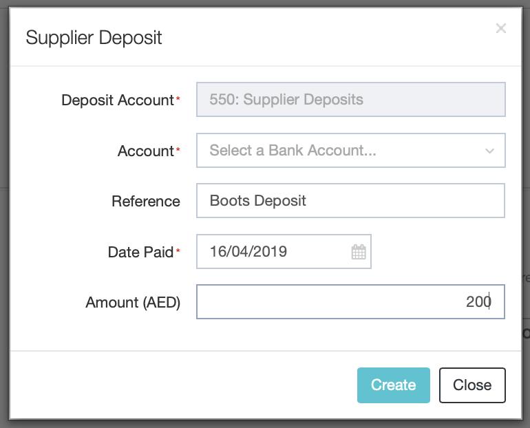 Supplier Deposits : DEAR Support Team