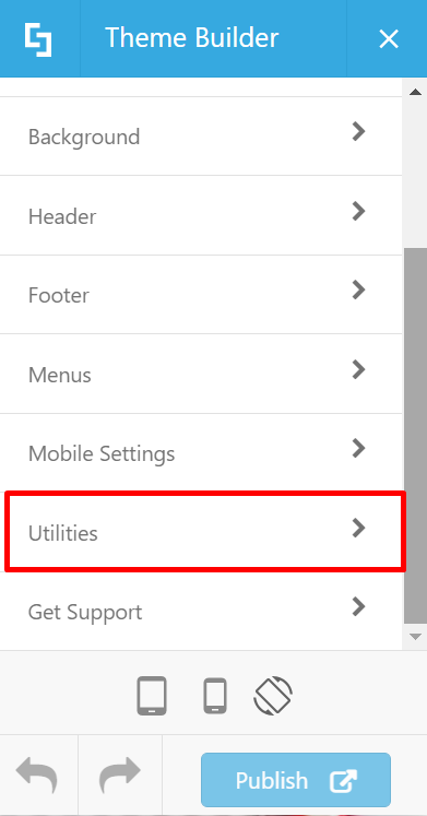 In Theme Builder, go to Utilities.