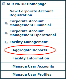 DIR Aggregate Reports Menu Item