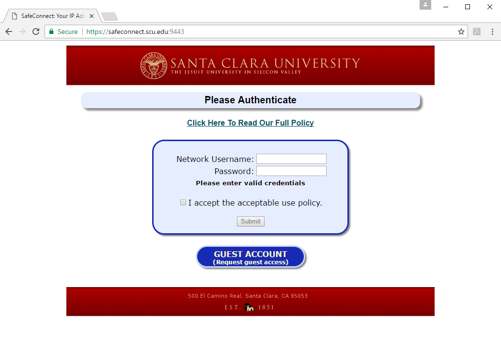 Safe Connect Policy Key   what is that? : Santa Clara Law Technology