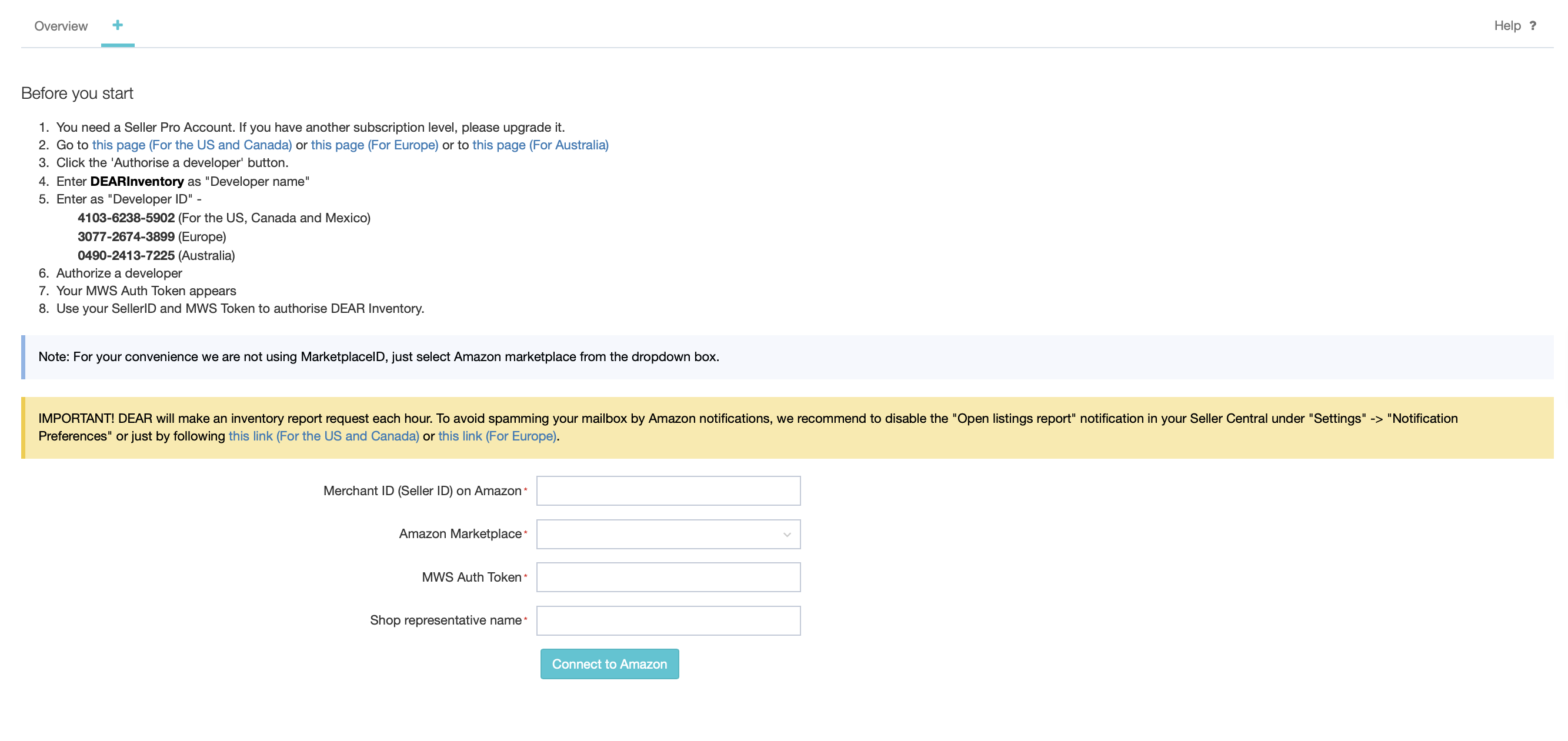 Amazon eCommerce Integration : DEAR Support Team