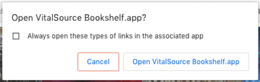 "Image of ""Open VitalSource Bookshelf.app"" dialog box."