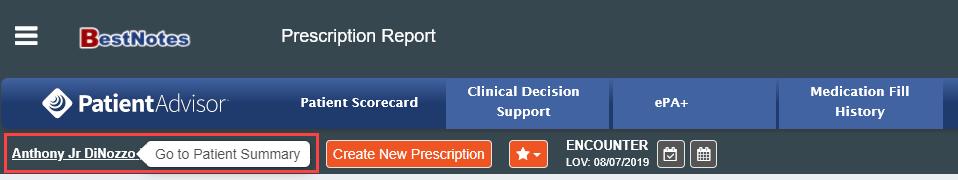 Patient Information Screen