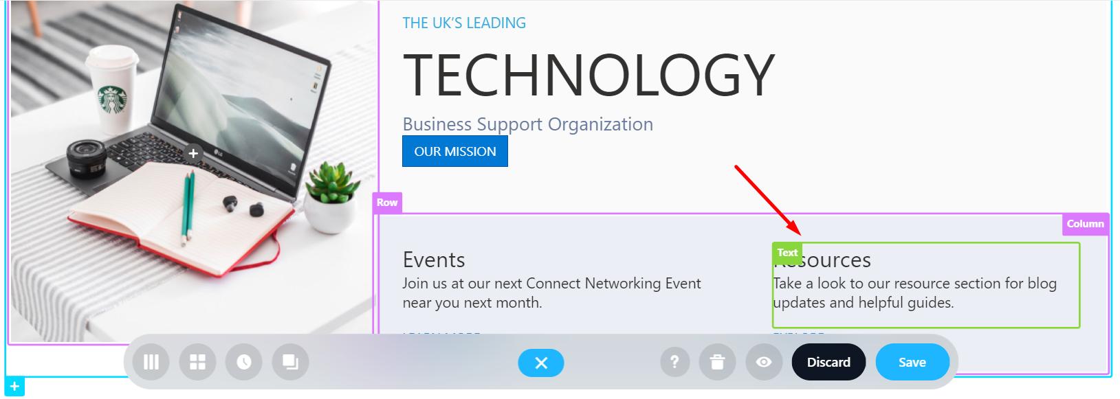 Text Design Element highlighted