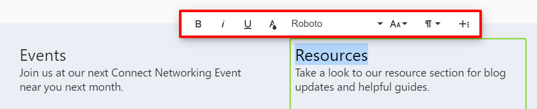 Inline text editor activated